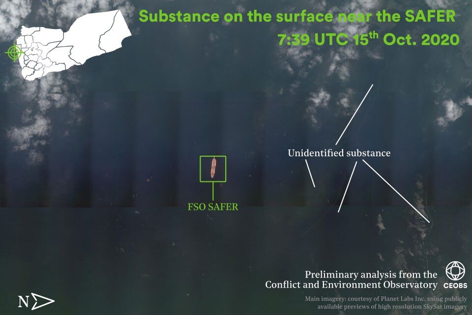 Figure 1. Unidentified substance in the water near the SAFER in recent days (14th – 19th Oct 2020). Imagery courtesy of Planet Labs Inc, using publicly available previews of high resolution SkySat imagery.