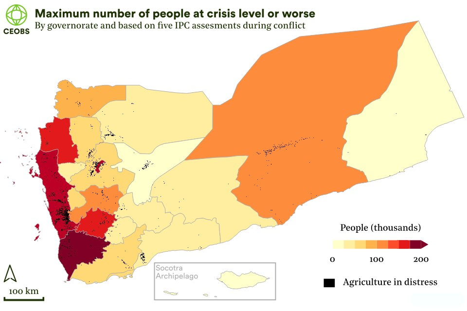 map of yemen governates showing maximum number of people (thousands) at IPC crisis level or worse across all 5 assessments