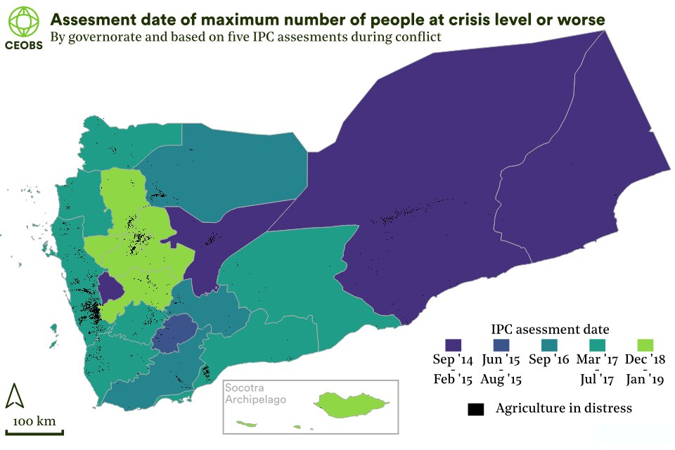 map of yemen governates showing the assessment date when the IPC food security situation was most severe