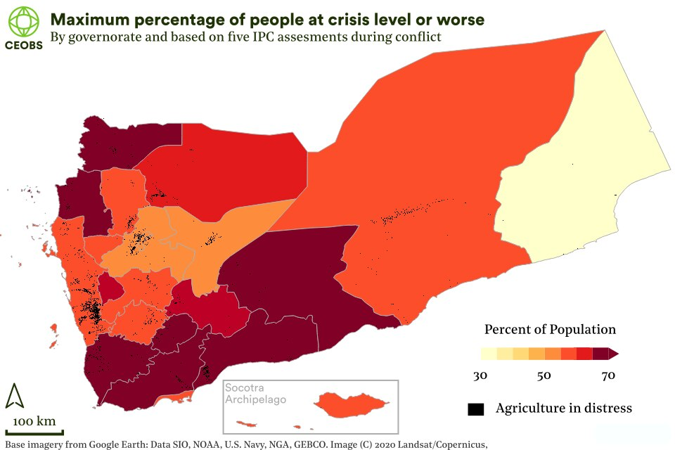 map of yemen governates showing percent of people at IPC crisis level or worse across all 5 assessments