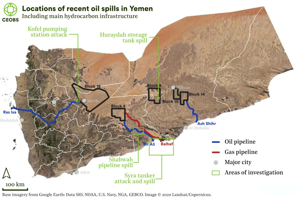 Figure 1. Location of hydrocarbon infrastructure in Yemen and the areas of investigation in this report.