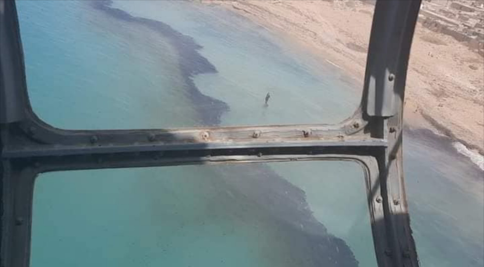 Oil spills near Derna observed from a helicopter. Credit: Alhayat Organisation for Protection of Wildlife and Marine Organisms